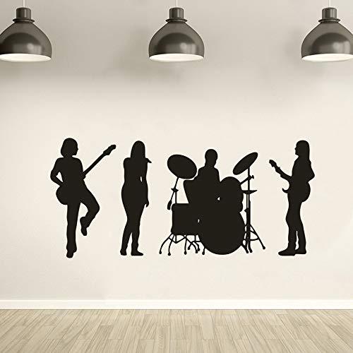Muursticker van vinyl met lint voor dames, afneembare decoratie in muziekstudio, gitaar, zanger, trommel, muurstickers, muziek, banda, poster 92 x 42 cm