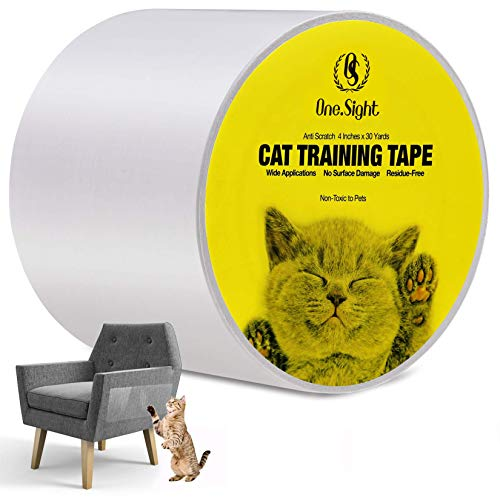 One Sight Anti Cat Scratch Training Deterrent Tape, 4 Inches x 30 Yards Clear Double Sided Cat sofa Scratch Furniture Protector, Cat Couch Protector Tape Sticky Paws for cats for Couch, Carpet, Doors