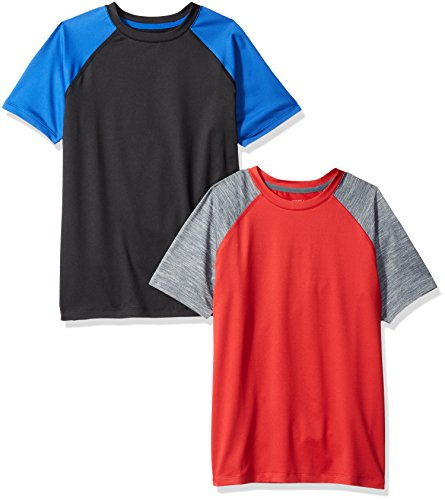 Amazon Essentials Kids Boys Active Performance Short-Sleeve T-Shirts, 2-Pack Black/Red Colorblock, X-Large