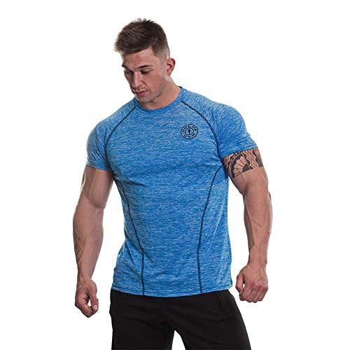 Gold's Gym Camiseta de Manga Corta para Hombre con Mangas raglán, Hombre, Performance Marl Raglan Sleeve Camiseta, GGTS060, Marl Azul, XXL