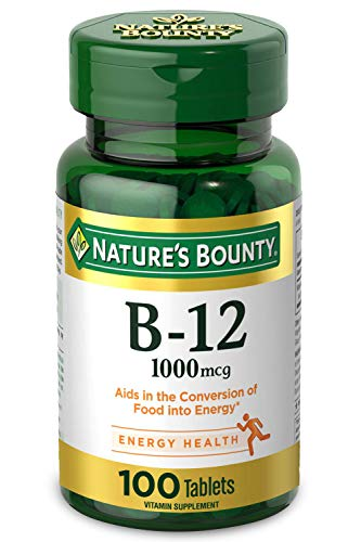 Nature's Bounty Vitamin B-12, 1000 mcg, 100 Coated Tablets, Vitamin Supplement, Supports Energy Metabolism, Heart Health, and Nervous System Health*