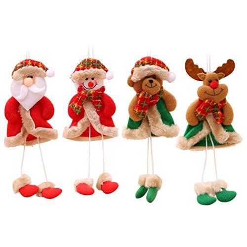 STOBOK Adornos Colgantes de árbol de Navidad Peluche Santa muñeco de Nieve Alce Oso muñeca de Pierna Larga para...