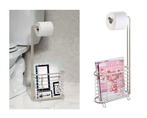 iDesign Forma Toilettenpapierhalter mit Zeitungsständer, freistehender Zeitschriftensammler mit Rollenhalter aus Metall, mattsilberfarben