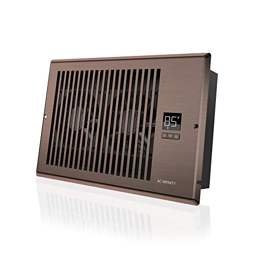 """AC Infinity AIRTAP T6, Quiet Register Booster Fan with Thermostat Control. Heating Cooling AC Vent. Fits 6"""" x 10"""" Register Holes."""
