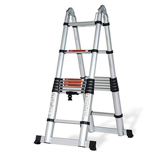 SUNCOO Multi-Position Ladders, 2.8-16.5Ft. Extension Ladder, Lightweight Aluminum Telescoping Ladders, Easy Retraction...