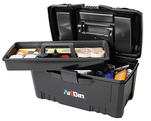 ArtBin 17-Inch Twin Top Tool Box- Black Art and Craft Supply Storage Container, 6918AB