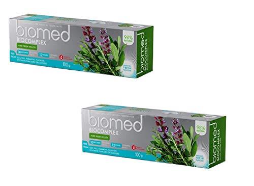 BIOMED Biocomplex natürliche Zahnpasta ohne Fluorid für einen frischen Atem, Sparset 100g x 2