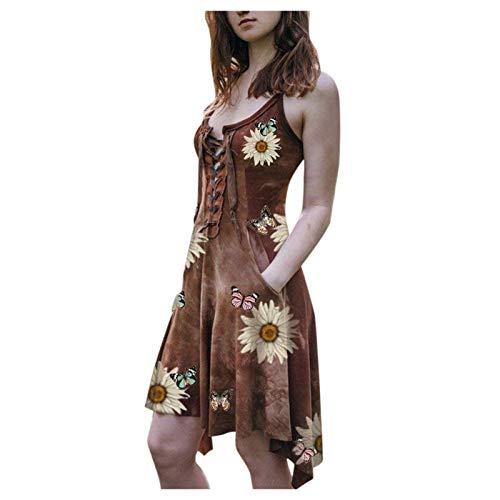 NHNKB Disfraz de Steampunk para mujer, sin mangas, vestido espagueti, vestido de encaje, para Halloween, carnaval, bruja, vampiro, gótico, cosplay, color marrón, XXXXXL