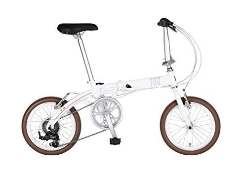 FIAT AL-FDB166 ホワイト 軽量アルミフレーム コンパクト折りたたみ自転車 ドルフィンフレーム 6段変速 Vブレーキ 12227-1299, 中
