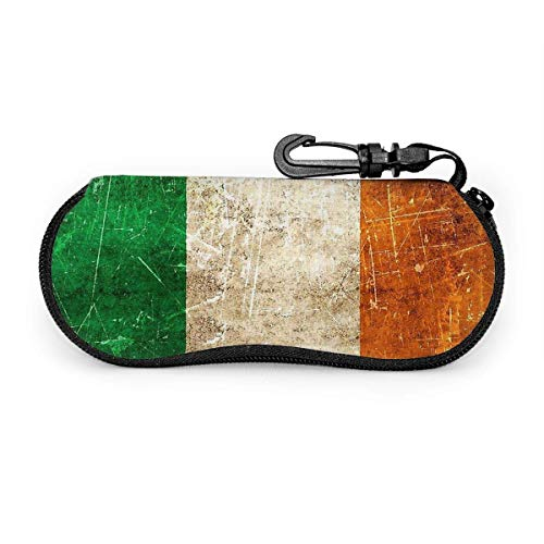 wusond Estuche para anteojos Estuche para gafas con bandera irlandesa envejecida y rayada Vintage Estuche para gafas suave anticaída Estuche para gafas Bolsa para gafas de sol