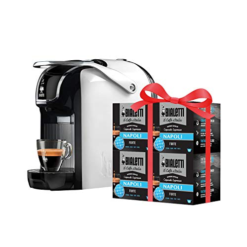 Bialetti New Break - Macchina Caffè Espresso a Capsule in Alluminio con Sistema Bialetti il Caffè d'Italia, Design compatto, Bianco, Include 64 Capsule In Omaggio
