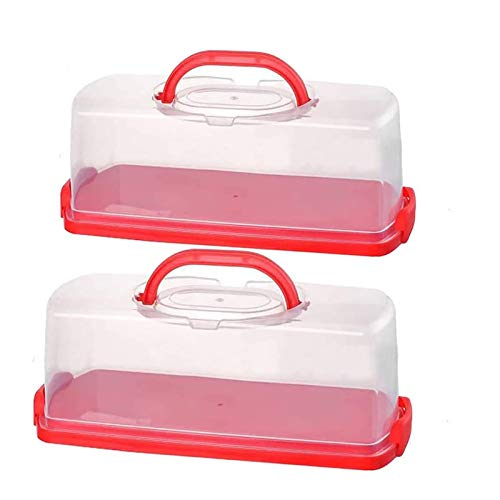 2 Pack Portable Plastic 13 inch Rectangular Loaf Cake Storage Container,Bread Keeper for Carrying and Storing Banana Bread,Pumpkin Bread,Quick Breads (Red)