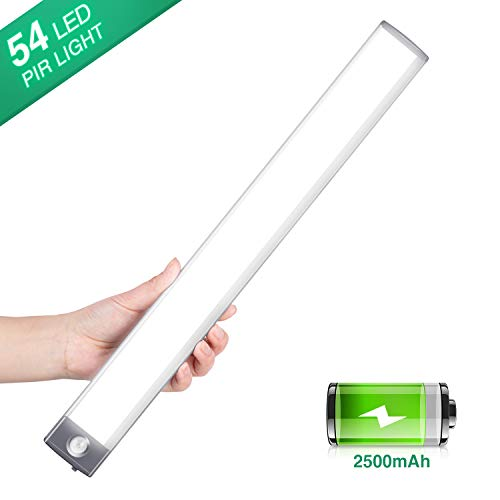 LED Sensor Licht Schrankleuchten, Wiederaufladbar Schranklicht mit Bewegungsmelder, 2500mAh Intelligente LED Küchenleuchte,Weiches Licht für Küche,Kleiderschrank,Kofferraum,Treppe,Verschiedene Räume