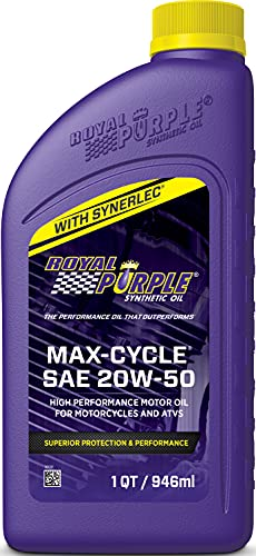 Royal Purple Max-Cycle 20W-50 High Performance Synthetic Motorcycle Oil, 32Oz, pack of 6
