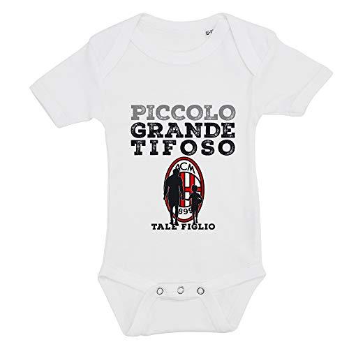 Body pour enfant avec impression tifoso football, Milan, 100 % coton, fabriqué en Italie - Blanc - 0-6 mois