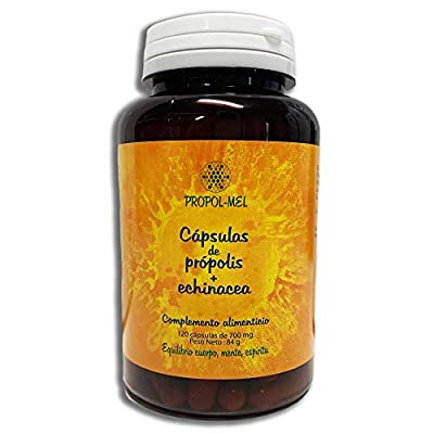 Propolis Capsules + Echinacea. 120 Capsules x 500 mg = 350 mg Propolis + 150 mg Echinacea. Nutritional Supplement That Helps as an Immune Booster and to Activate defenses.
