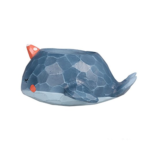 Bonita maceta con forma de animal, para decoración del hogar, jarrón suculenta, maceta, maceta, maceta, maceta, mini bonsái (ballena azul)