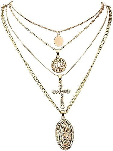Yiffshunl Collar Collar de Moda para Mujer Collar con Colgante Cruz Lotus Lotus Hollow Collar Largo clásico Joyería Multicapa