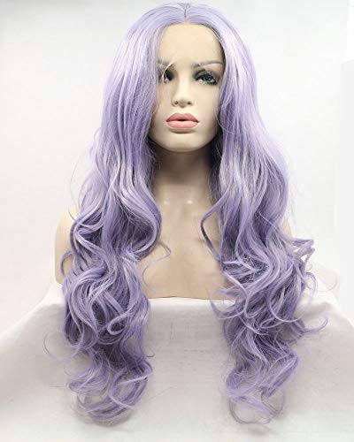 """Pastel Lilac Purple Lavender Mixed Color Long Wave Hair Synthetic Lace Front Wigs For Women Drag Queen Cosplay Wigs 22"""""""