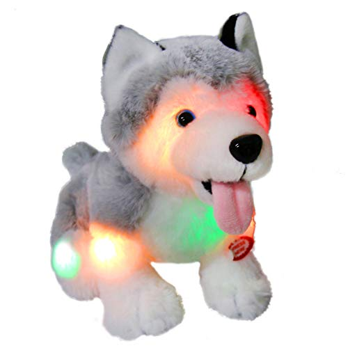 Athoinsu Light up Stuffed Husky Puppy Dog Soft Plush Toy with Magic LED Night Lights Birthday for Toddler Kids, 8''