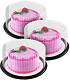 9' inch Disposable Plastic Cake Containers + Cake Boards - Set of 3 | Cake Carrier for transport, 2-3 Layer Cake Holder Display Containers, Durable & Strong By Chefible