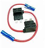 YUNIQUE ESPANA 2 Piezas Agregue un Circuito Mediano Tap Piggy Back Cuchilla estándar Porta Caja de fusibles ATO ATC
