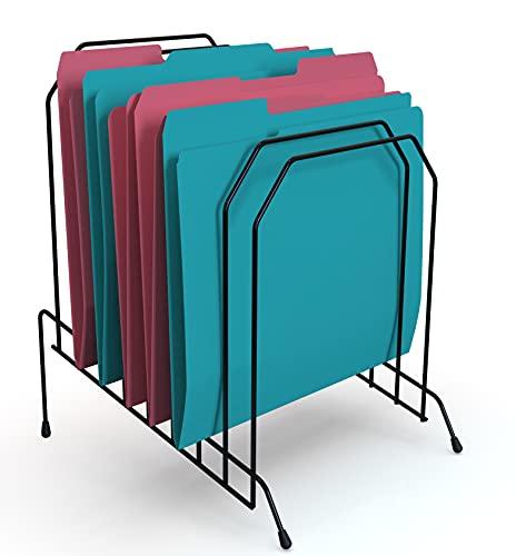 1InTheOffice Metal Incline Desktop File Sorter, 8 Compartments, Black (Black)