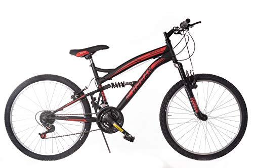 F.LLI MASCIAGHI Bici BIAMMORTIZZATA 24' 18 Velocita Cambio SAIGUAN Colore Nero Rossa Bicicletta Bike*****Ok-VA Bene per Una PERSANA Alta CM 140 A 155 CM-