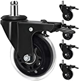 Office Chair Caster Wheels with Brake Lock, 3 In Locking Caster Replacement Heavy Duty Swivel Rubber Wheel, Set of 5 All Can Lockable, Perfect Safe for Hardwood Floors and Carpet - Universal Fit