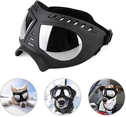 DHGTEP Gafas De Sol para Perros, Gafas De Sol Protectoras UV para Mascotas, Correa Protectora Antiniebla, Correa Ajustable (Color : Black)