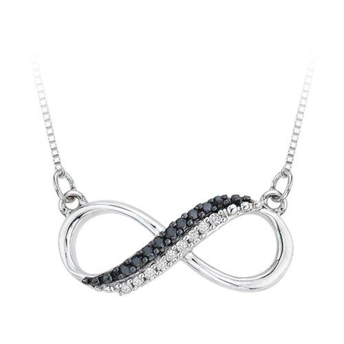 KATARINA Collar con Colgante de Dos Filas de Infinito Negro y Blanco de Diamante en Plata de Ley (1/20 Quilates) (Color JK, claridad SI2-I1)