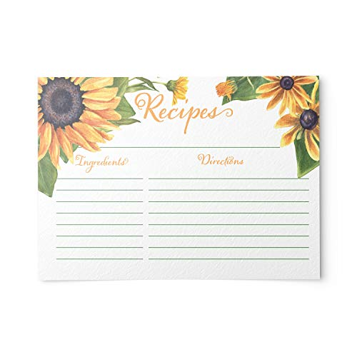 Sunflower Yellow Floral Recipe Cards from Dashleigh, 48 Cards, 4x6 inches, The Gift Collection, Water-Resistant and Double-Sided (Yellow Sunflower)