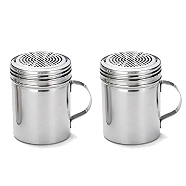 Great Credentials Stainless Steel Versatile Dredge Shaker, Salt, Sugar, Shakers 10 Oz. Each Set of 2 (With Handle)