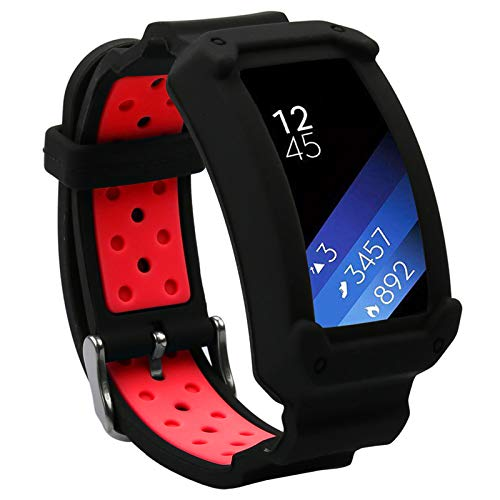 Wonlex Band for Samsung Gear Fit2 / Fit2 Pro, Silicone Replacement Watch Bands Strap Compatible with Galaxy Gear Fit2 SM-R360 & Fit 2 Pro for Women & Men (Black/Red)