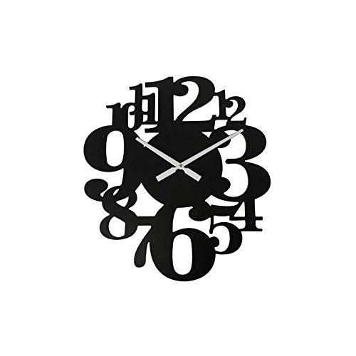 Rebecca Mobili Orologio Da Parete, Orologi Decorativi, Nero, Legno Mdf, Stile Contemporaneo, Analogico, Salotto Camera - Misure: 55 x 50 x 4,5 cm (HxLxP) - Art. RE6571