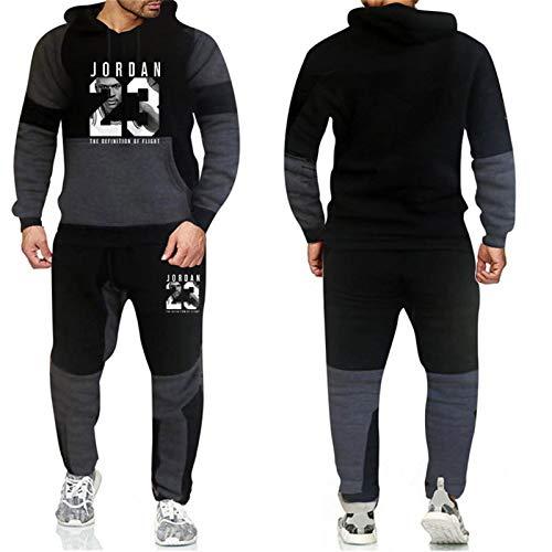 XMYP Hombres 2 Piezas Chándal Conjuntos Jordan #23 Hombres Otoño Invierno Sudadera con Capucha y Cordón Pantalones Masculino Sudaderas con Capucha Ropa de Entrenamiento Negro A-XXL