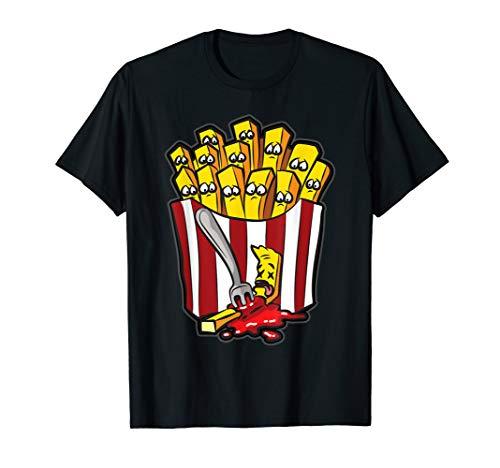Pommes Fritten Humor | Pommesgabel Mord Ketchup Comic Humor T-Shirt