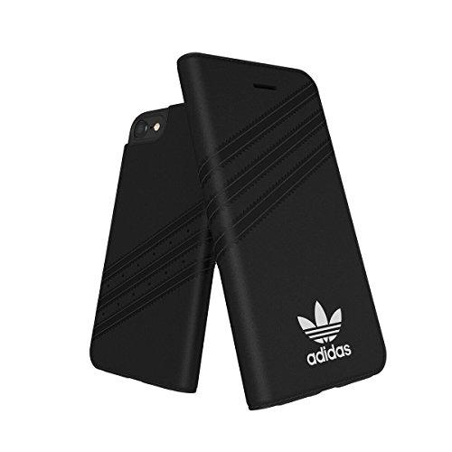 adidas Originals - Funda Tipo Libro para iPhone 6/6S/7/8 Plus de Ante Negro