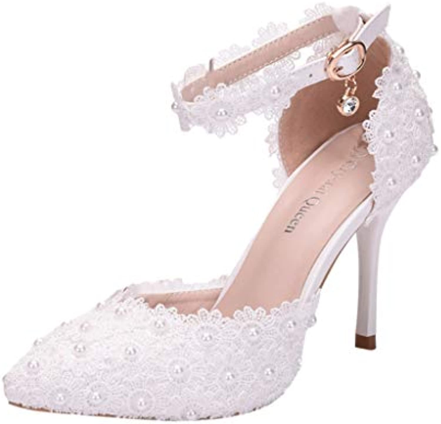 Women Rhinestone High Heels, Lady Sexy Wedding Pointed Toe Thin Sandals shoes Ankle Straps Sandals