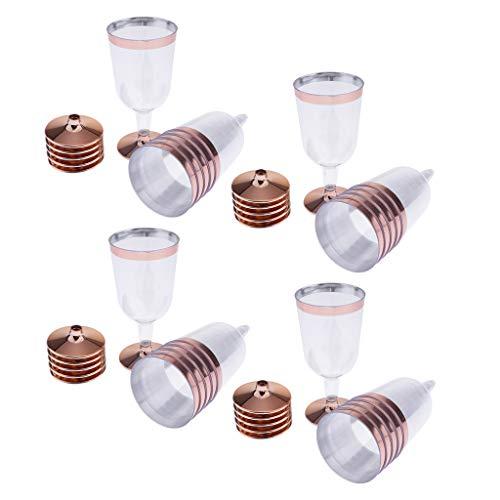 Copas de Vino de Plástico Transparente y Desechables Copas de Vino Adornadas con Oro Rosa