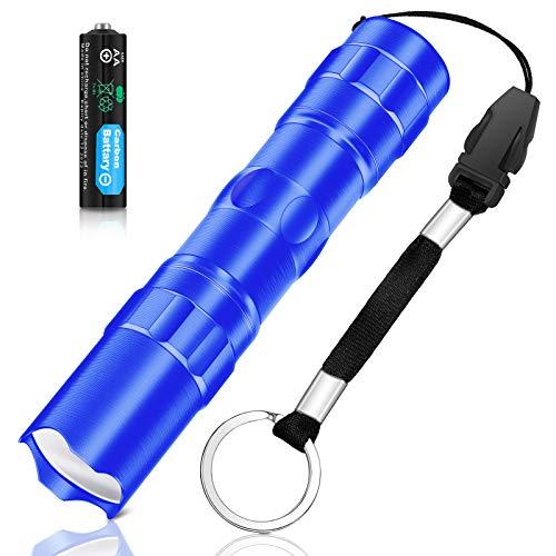 Mini Linterna de Bolsillo Portátil Linterna Llavero LED Pequeño Antorcha Llavero LED Impermeable Alimentado por Sola Batería AA para Senderismo, Camping, Escalada (Azul)