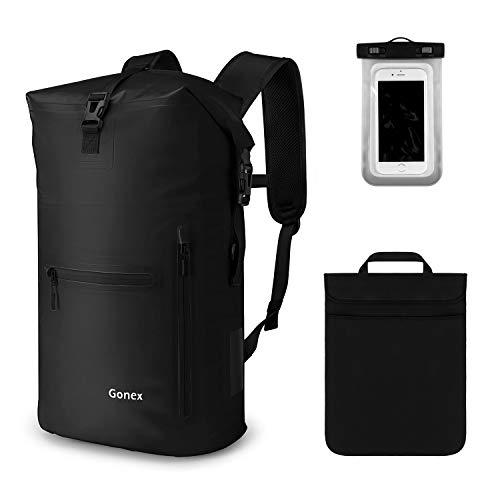 Gonex 35L Wasserdichter Rucksack,Mit Laptophülle + Handytasche, Dry Bag Wasserdichter Packsack, Schwarz