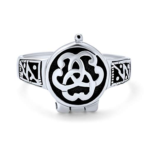 Couples Promise Triquetra Irish Celtic Knot Trinity Signet Locket Ring For Women For Men Oxidized 925 Sterling Silver