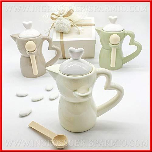 Zuccheriere a forma di caffettiera in porcellana lucida colorata con cucchiaino bomboniere matrimonio anniversario utili, completa di scatola regalo DIM. STANDARD (con confezione panna)