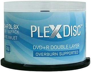 PlexDisc DVD+R DL, 50 Discs, 8X, 8,7GB, Double-Layer, Inkjet