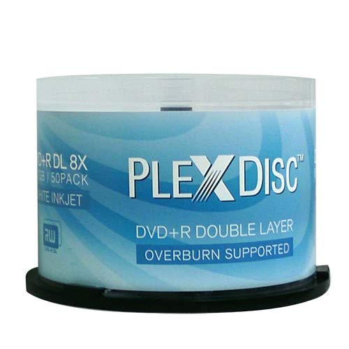 PlexDisc DVD+R DL, 50 Discs, 8X, 8,7GB, Double-Layer, Inkjet, Blanco
