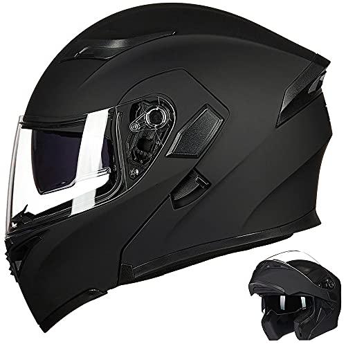 Auboa Motorcycle Modular Full Face Helmet for Adults Motocross Snowmobile Helmet Men Women Dual Visors DOT Approved(Matte Black, L)
