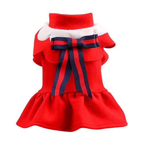 AYDQC Diseño Escolar, Vestidos de Uniforme para Mascotas para Perros pequeños, Lindos Lazos, Otoño Invierno, Chihuahua, Pugs, Gatos, Atuendo, Ropa (Color : Red, Size : X-Large)