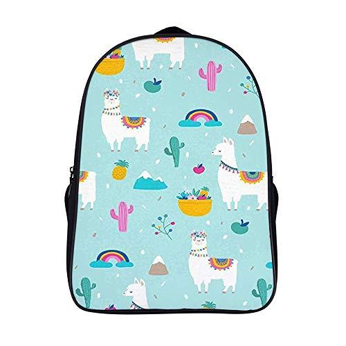 XIAHAILE Kompakte Rucksack Büchertasche für Männer und Frauen, leichter Rucksack für Schul und Urlaubsreisen,Peru Party Lama Kaktus