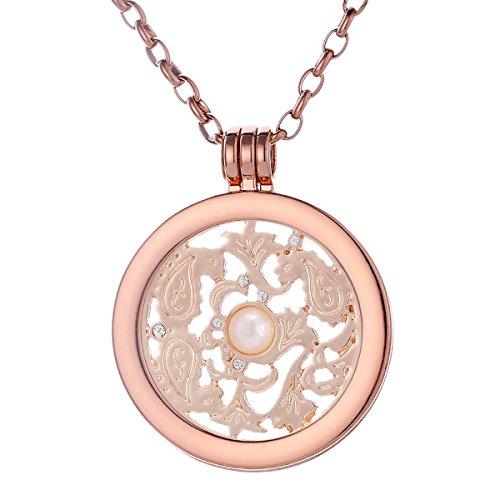 Morella Collana Donna 70 cm Acciaio Inossidabile Oro Rosa con Coins Moneta amuleto Ciondolo Rotondo 33 mm placca Rotonda Simbolo Vento Oro Rosa in Sacchetto di Velluto